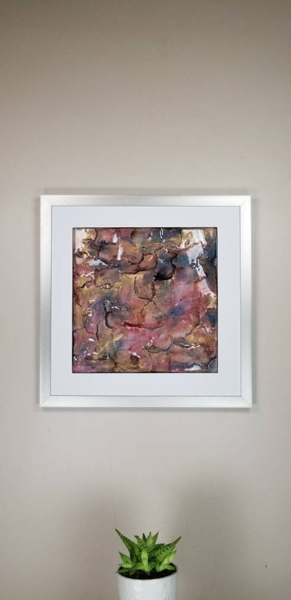 "Starlight, by Gemstones of Gypsum, hand carved modern wall art, rock texture, watercolors, glass like finish, 17x17"", silver aluminum frame"