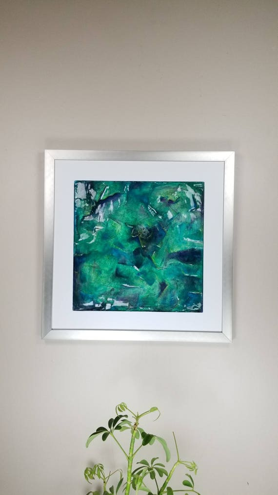 """Blue Fire, by Gemstones of Gypsum, hand carved modern wall art, rock texture, watercolors, glass like finish, 17x17"""", silver aluminum frame"""
