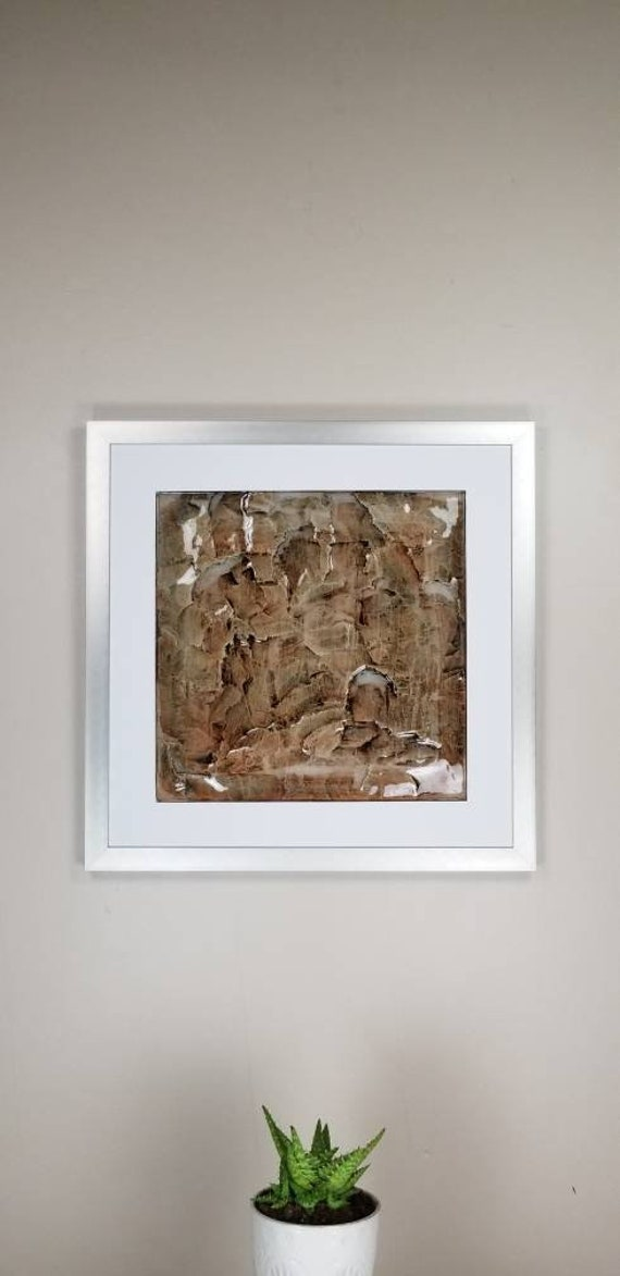"""Weathered Basalt, by Gemstones of Gypsum, hand carved wall art, rock texture, watercolors, glass like finish, 17x17"""", silver aluminum frame"""