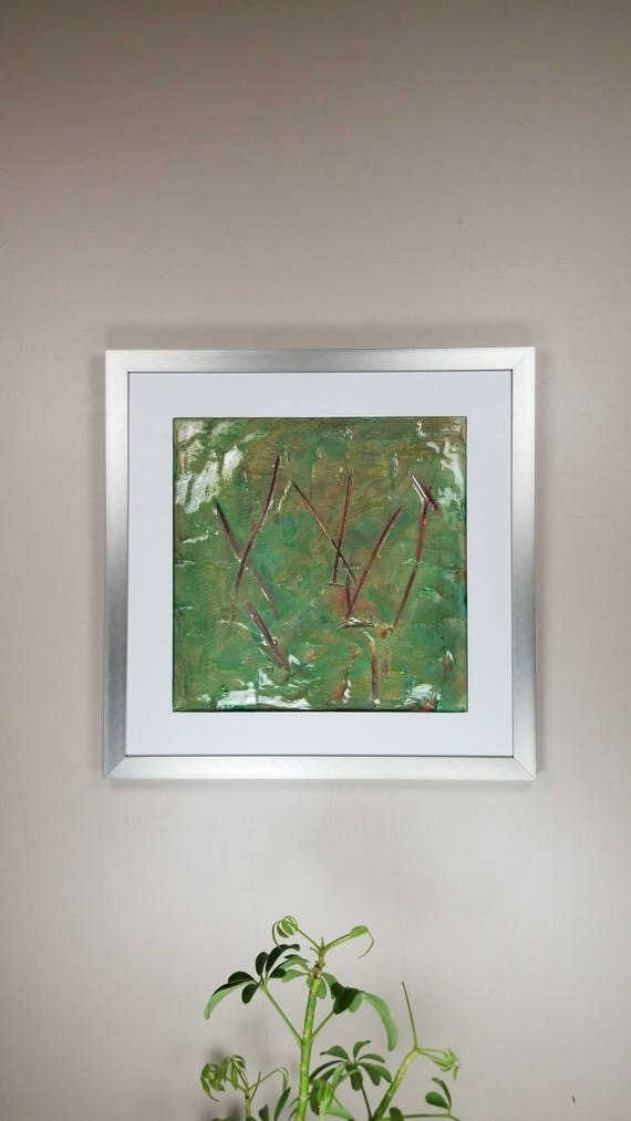 """Lacerated Verde, by Gemstones of Gypsum, hand carved modern art, rock texture, watercolors, glass like finish, 17x17"""", silver aluminum frame"""