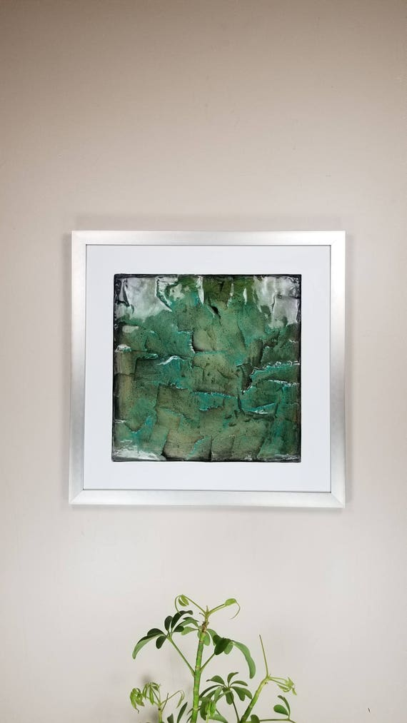 "Emerald, by Gemstones of Gypsum, hand carved modern wall art, rock texture, watercolors, glass like finish, 17x17"", silver aluminum frame"