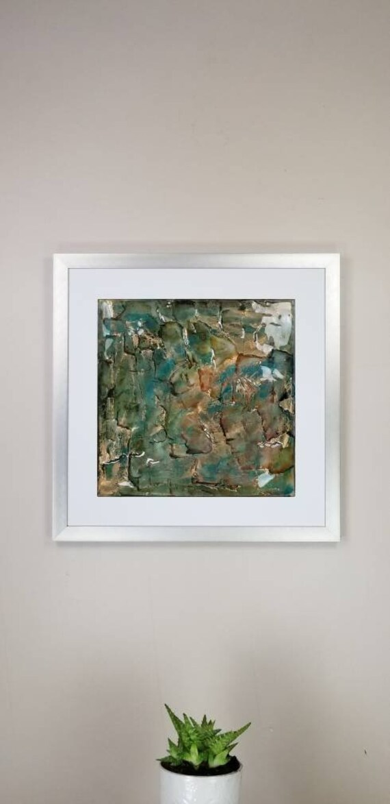 """Metallic Teal, by Gemstones of Gypsum, hand carved modern art, rock texture, watercolors, glass like finish, 17x17"""", silver aluminum frame"""