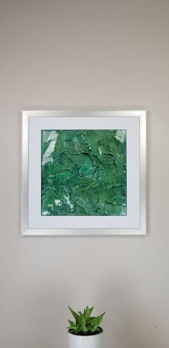 "Jade, by Gemstones of Gypsum, hand carved modern wall art, rock texture, watercolors, glass like finish, 17x17"", silver aluminum frame"