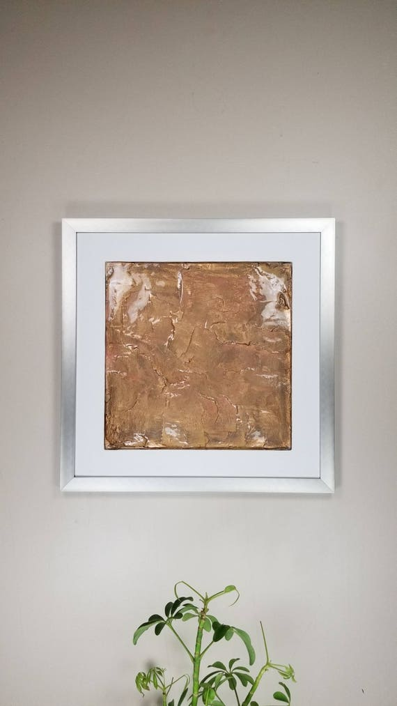 "Golden Tan, by Gemstones of Gypsum, hand carved modern wall art, rock texture, watercolors, glass like finish, 17x17"", silver aluminum frame"