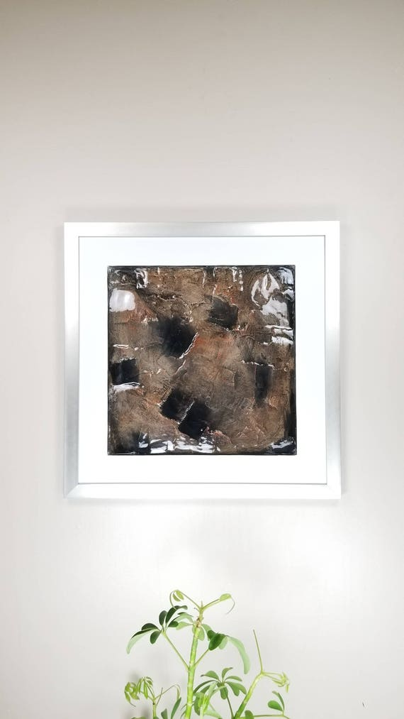 "Mineral Pockets, by Gemstones of Gypsum, hand carved modern art, rock texture, watercolors, glass like finish, 17x17"", silver aluminum frame"