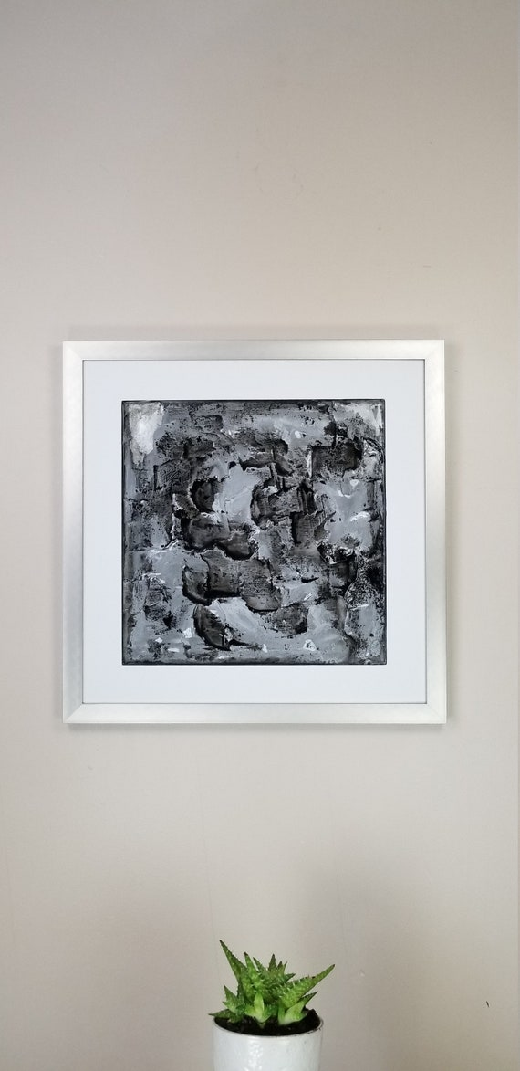 """Night Silver, by Gemstones of Gypsum, hand carved modern art, rock texture, watercolors, glass like finish, 17x17"""", silver aluminum frame"""