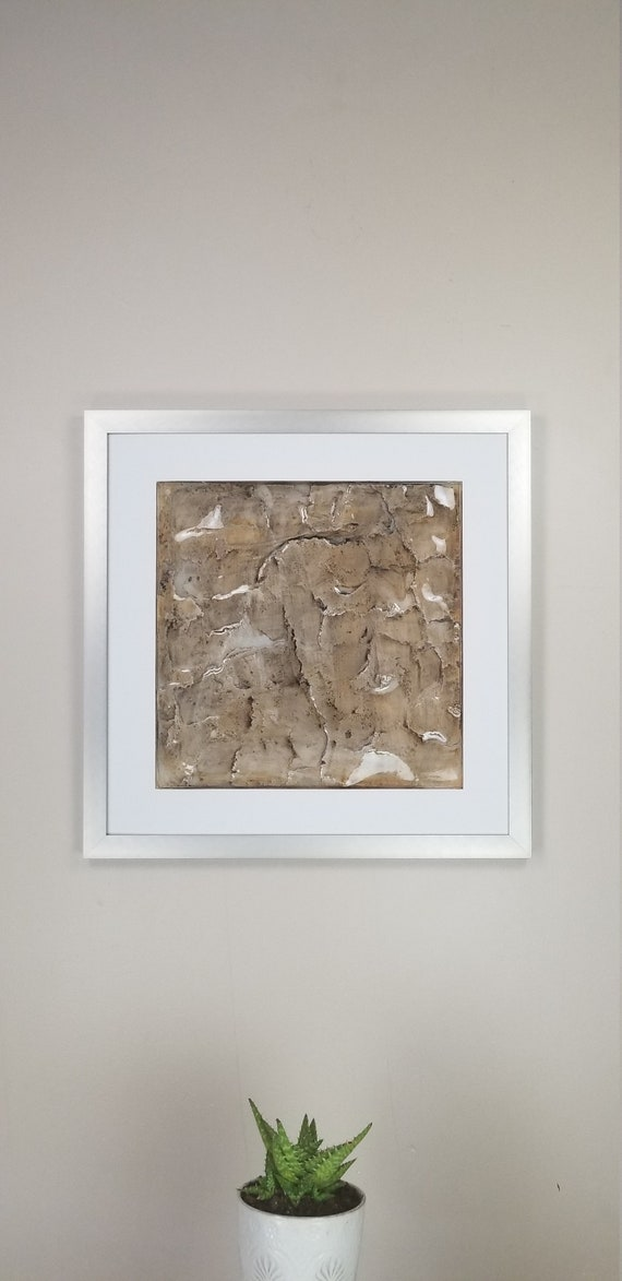 """Serene Tan, by Gemstones of Gypsum, hand carved modern wall art, rock texture, watercolors, glass like finish, 17x17"""", silver aluminum frame"""