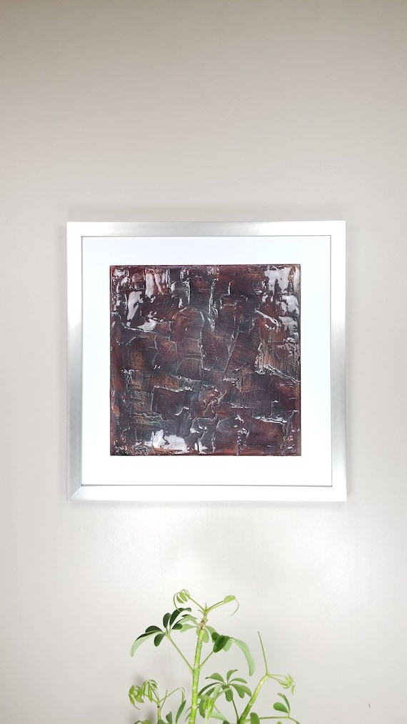 """Purple Red, by Gemstones of Gypsum, hand carved modern wall art, rock texture, watercolors, glass like finish, 17x17"""", silver aluminum frame"""