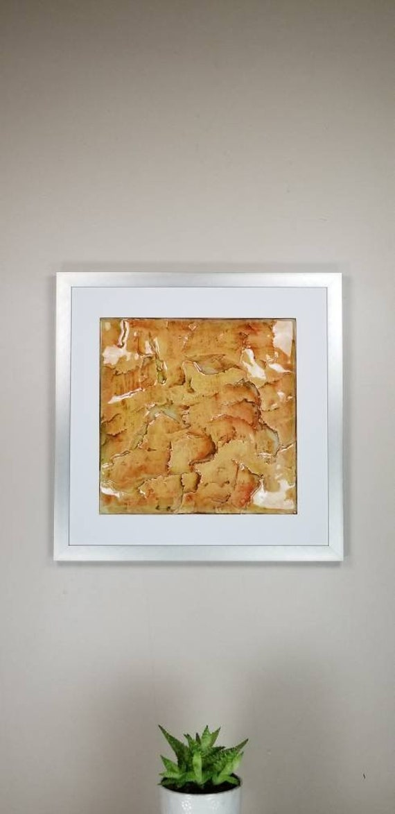 """Queso, by Gemstones of Gypsum, hand carved modern wall art, rock texture, watercolors, glass like finish, 17x17"""", silver aluminum frame"""