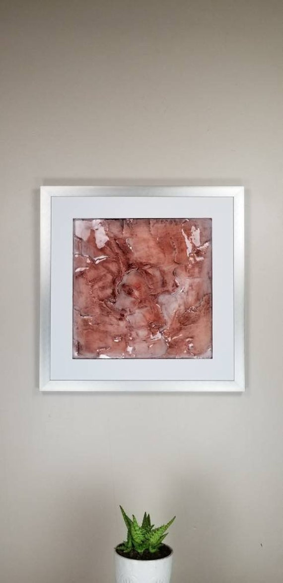 """Strawberry Quartz, by Gemstones of Gypsum, hand carved wall art, rock texture, watercolors, glass like finish, 17x17"""", silver aluminum frame"""