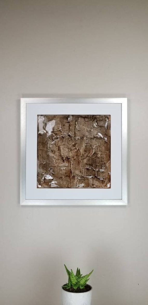"""Solid, by Gemstones of Gypsum, hand carved modern wall art, rock texture, watercolors, glass like finish, 17x17"""", silver aluminum frame"""