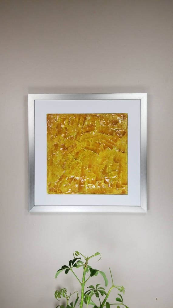 "Mustard, by Gemstones of Gypsum, hand carved modern wall art, rock texture, watercolors, glass like finish, 17x17"", silver aluminum frame"