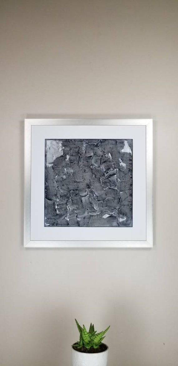 """Acanthite, by Gemstones of Gypsum, hand carved modern wall art, rock texture, watercolors, glass like finish, 17x17"""", silver aluminum frame"""