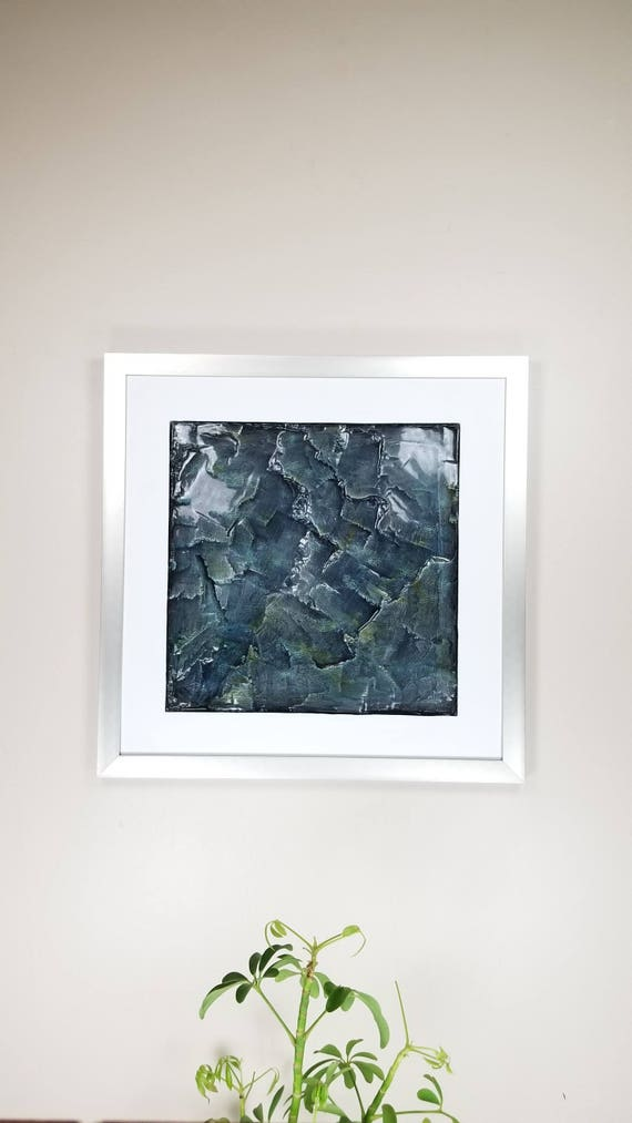 "Labradorite, by Gemstones of Gypsum, hand carved wall art, rock texture, watercolors, glass like finish, 17x17"", silver aluminum frame"
