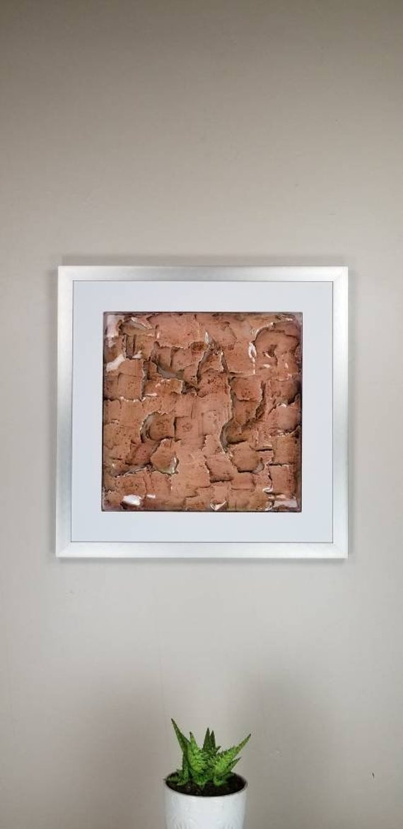 """Red Quarry, by Gemstones of Gypsum, hand carved modern wall art, rock texture, watercolors, glass like finish, 17x17"""", silver aluminum frame"""