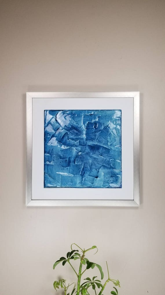 "Denim Azul, by Gemstones of Gypsum, hand carved modern wall art, rock texture, watercolors, glass like finish, 17x17"", silver aluminum frame"