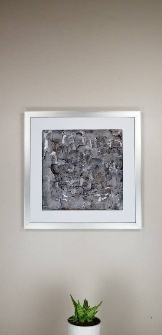 """Kyanite, by Gemstones of Gypsum, hand carved modern wall art, rock texture, watercolors, glass like finish, 17x17"""", silver aluminum frame"""
