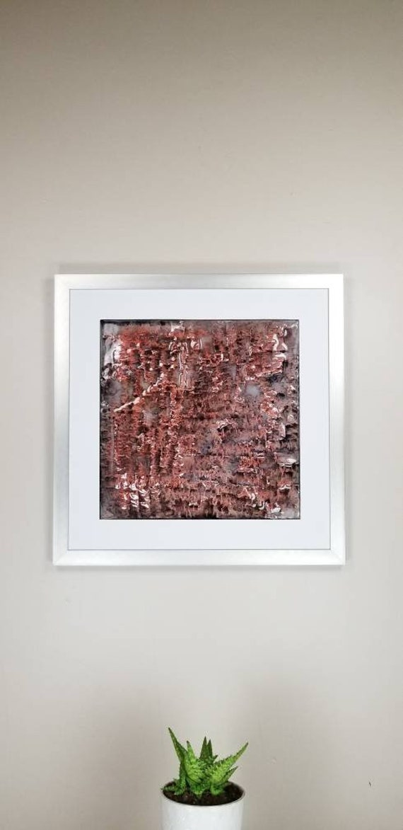 """Molten, by Gemstones of Gypsum, hand carved modern wall art, rock texture, watercolors, glass like finish, 17x17"""", silver aluminum frame"""