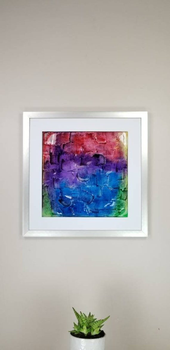 """Rainbow, by Gemstones of Gypsum, hand carved modern wall art, rock texture, watercolors, glass like finish, 17x17"""", silver aluminum frame"""