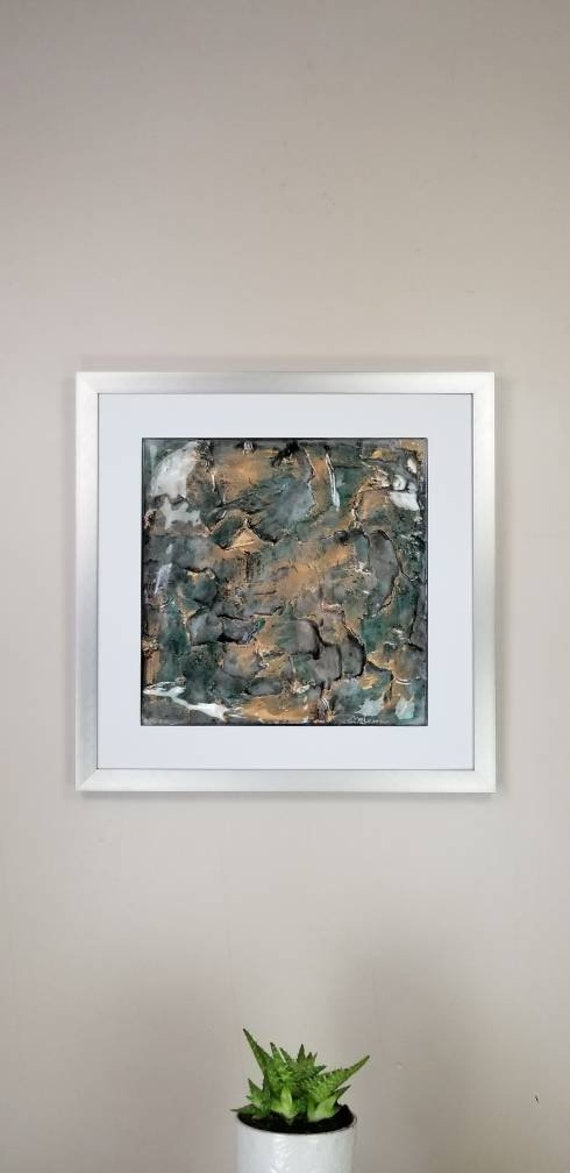 """Cobalt Gold, by Gemstones of Gypsum, hand carved wall art, rock texture, watercolors, glass like finish, 17x17"""", silver aluminum frame"""