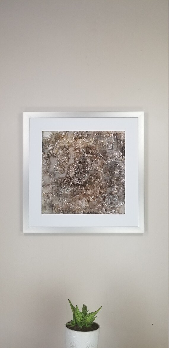 """Moca Java, by Gemstones of Gypsum, hand carved modern wall art, rock texture, watercolors, glass like finish, 17x17"""", silver aluminum frame"""