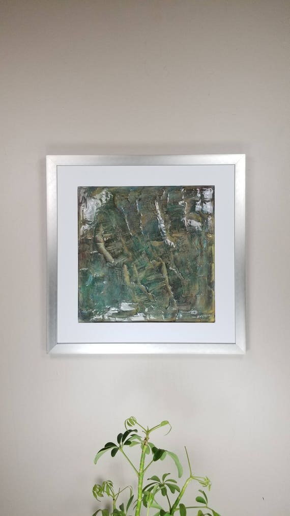 """Actinolite, by Gemstones of Gypsum, hand carved modern wall art, rock texture, watercolors, glass like finish, 17x17"""", silver aluminum frame"""