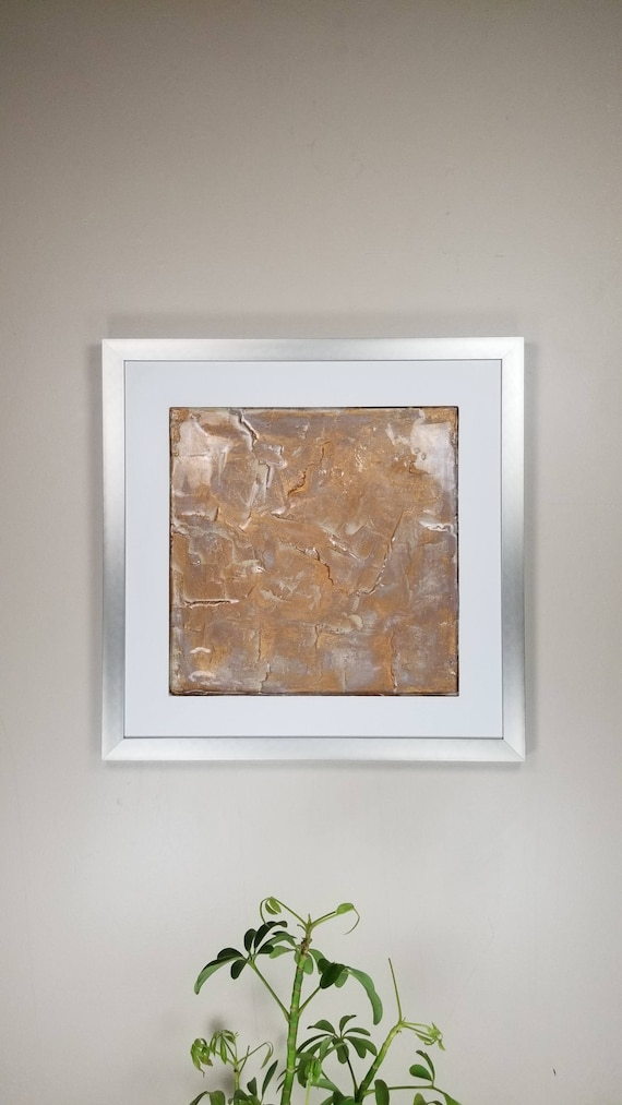 "Latte Gold, by Gemstones of Gypsum, hand carved modern wall art, rock texture, watercolors, glass like finish, 17x17"", silver aluminum frame"