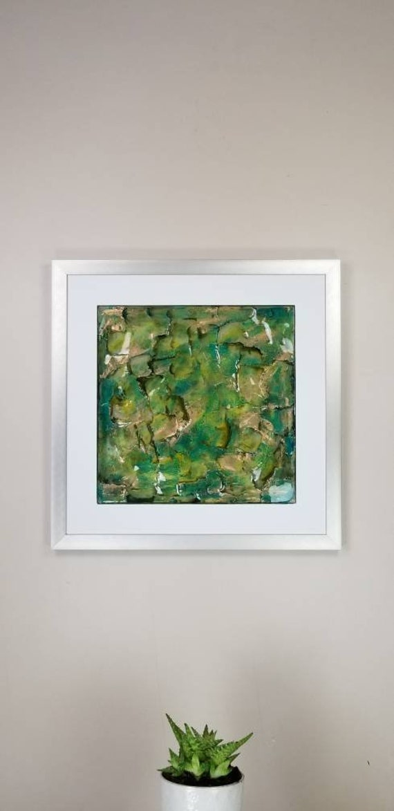 """Dinero, by Gemstones of Gypsum, hand carved modern wall art, rock texture, watercolors, glass like finish, 17x17"""", silver aluminum frame"""