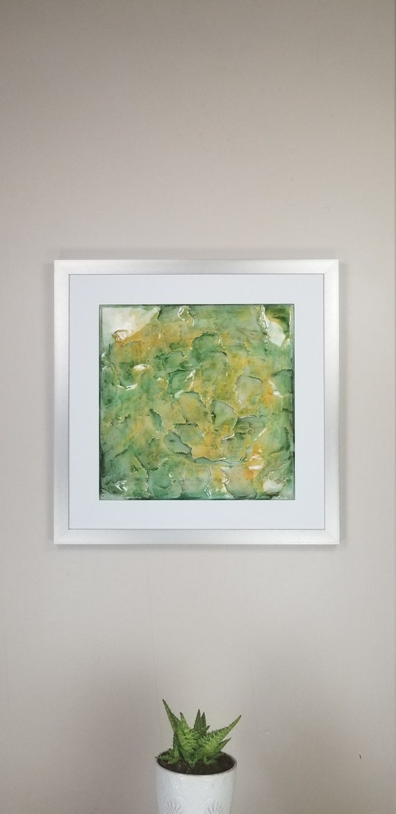 """Plankton, by Gemstones of Gypsum, hand carved modern wall art, rock texture, watercolors, glass like finish, 17x17"""", silver aluminum frame"""