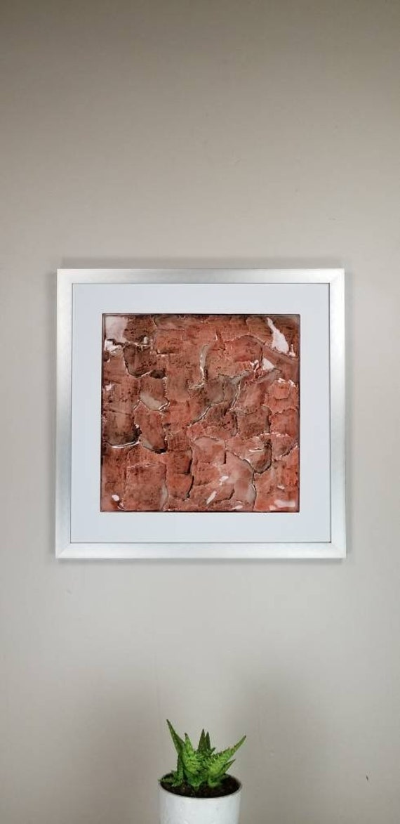 """Red Granite, by Gemstones of Gypsum, hand carved modern art, rock texture, watercolors, glass like finish, 17x17"""", silver aluminum frame"""
