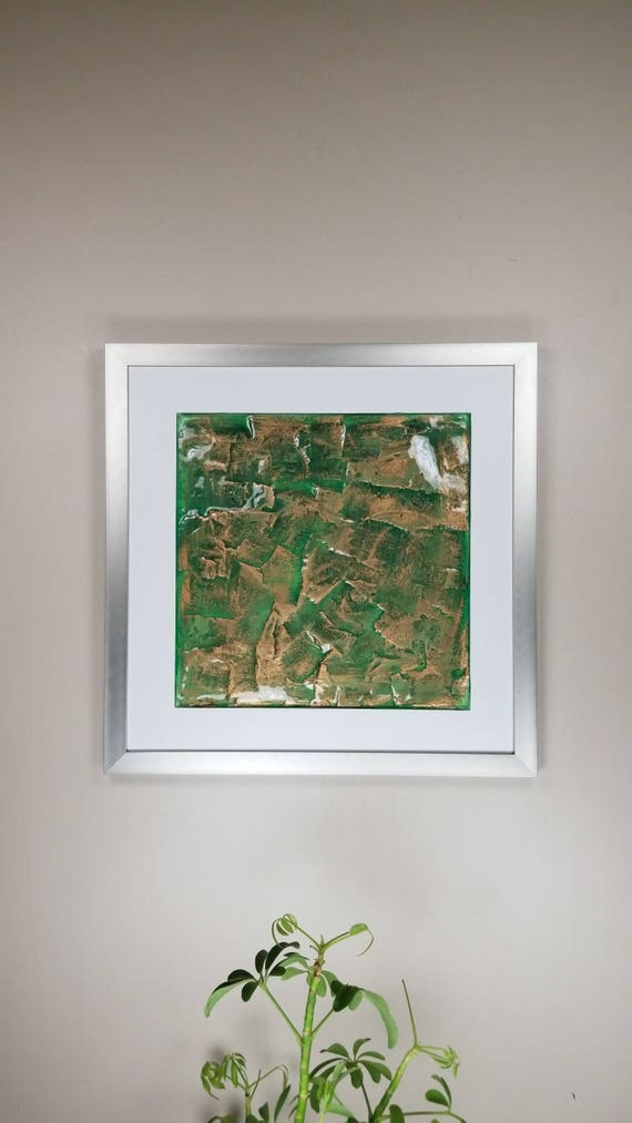 """Gold Green, by Gemstones of Gypsum, hand carved modern wall art, rock texture, watercolors, glass like finish, 17x17"""", silver aluminum frame"""