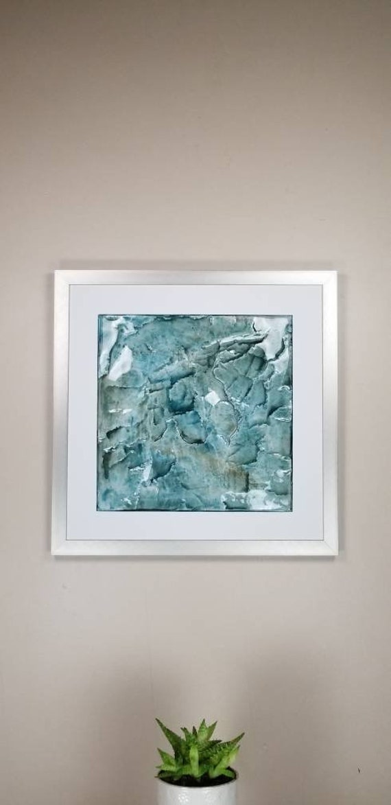 "Aquamarine, by Gemstones of Gypsum, hand carved modern wall art, rock texture, watercolors, glass like finish, 17x17"", silver aluminum frame"