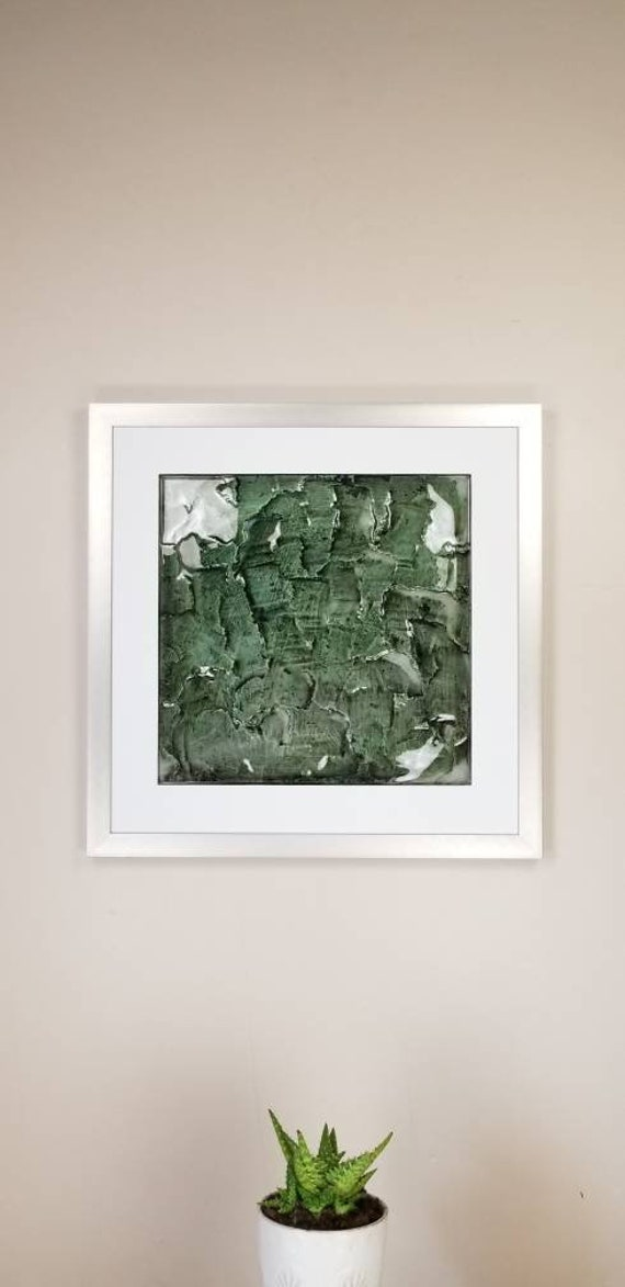 """Emerald, by Gemstones of Gypsum, hand carved modern wall art, rock texture, watercolors, glass like finish, 17x17"""", silver aluminum frame"""