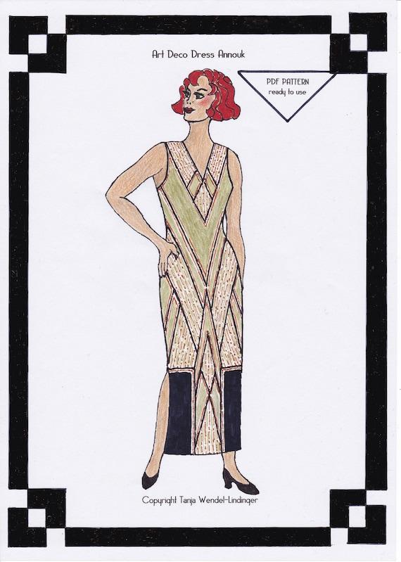 1930s Dress Pattern Art Deco Dress Annouk PDF Sewing Pattern | Etsy