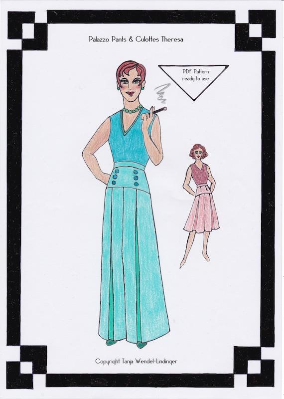 1940s Palazzo Pants & Culottes Theresa PDF Schnittmuster | Etsy