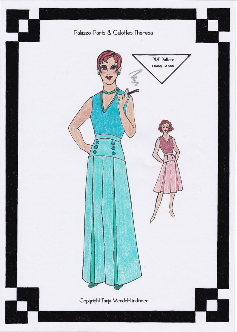1940s Fabrics and Colors in Fashion 1940s Palazzo Pants & Culottes Theresa - PDF Pattern Size US14/UK18/DE44 and US16/UK20/DE46 $15.30 AT vintagedancer.com