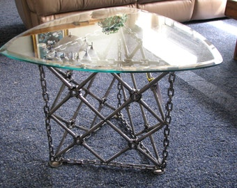 Custom Welded Modern Metal End Tables With Beveled Glass Tops