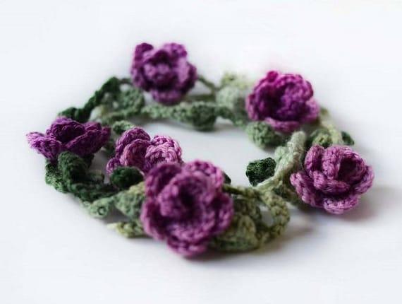 Crochet Necklace Pattern Crochet Flower Necklace Pattern Etsy