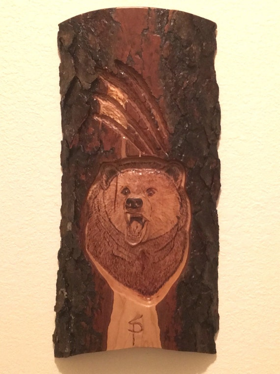 Bear relief carving etsy