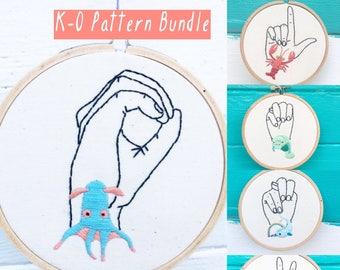 Hand Embroidery Patterns, Pattern Bundle, Sign Language K-O Patterns