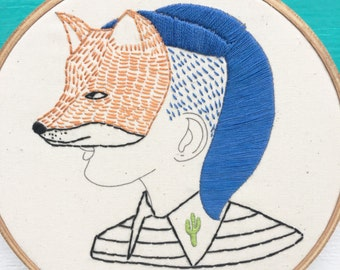 Hand Embroidery Pattern, Embroidery Pattern, F is for Fox Pattern