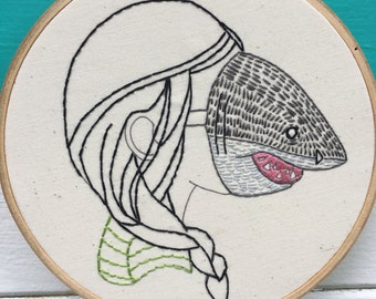 Complete Beginner Embroidery Kit, Beginner Embroidery Kit, Shark Girl Kit