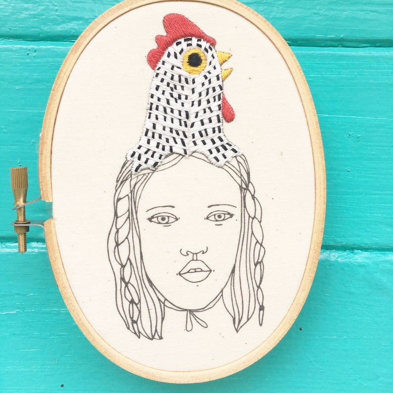 Hand Embroidery Pattern Embroidery Pattern Folk Hat Chicken image 0