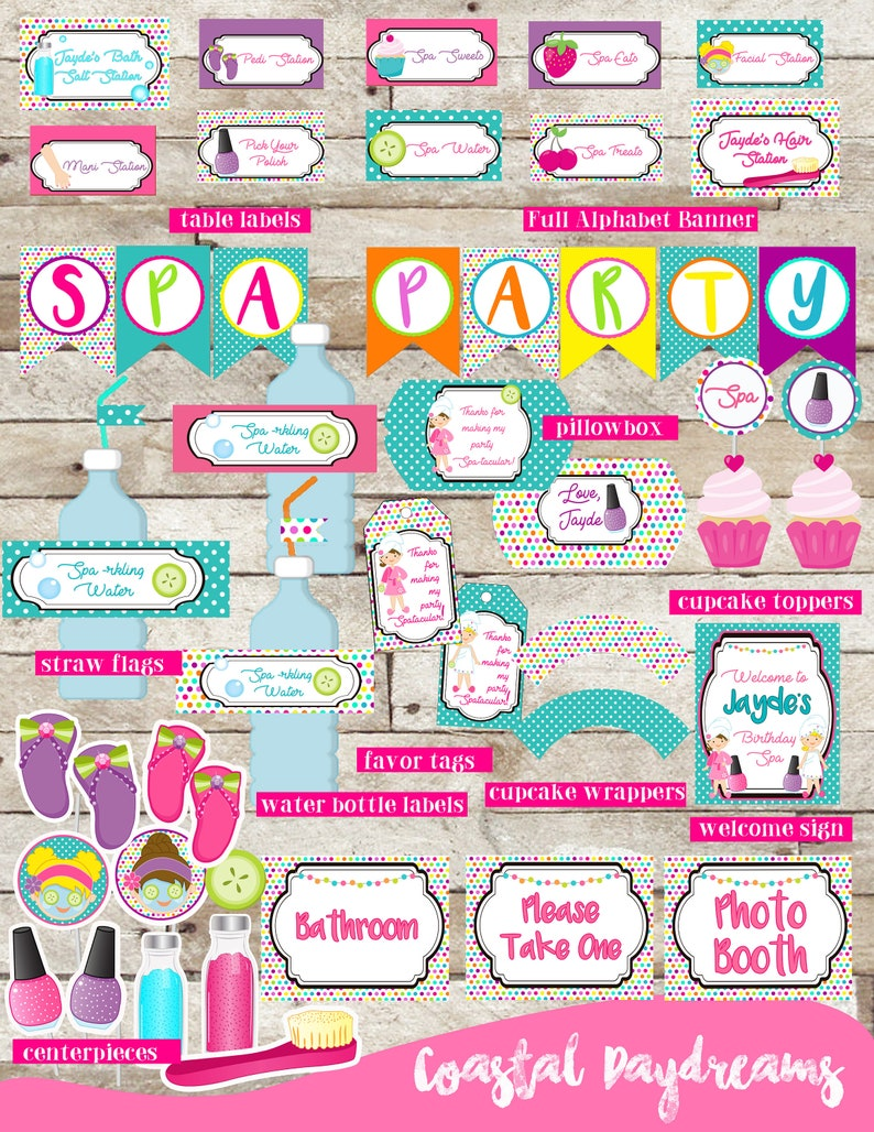 graphic relating to Spa Party Printable identify Spa Celebration Printables, Spa Birthday, Customized Printable Decorations, Birthday Bash Elements, Spa Social gathering Offer