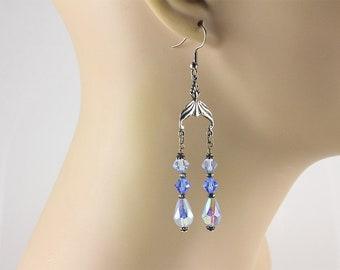 Blue Chandelier Earrings, Blue Chandelier Earrings, Blue Swarovski Earrings, Crystal Earrings, Swarovski Crystal Earrings, Blue Earrings