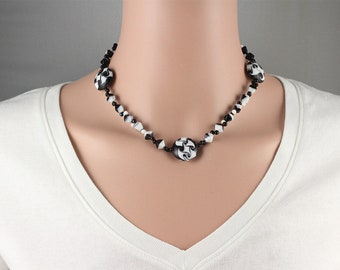 Black and White Necklace, Jewelry with Vintage Beads, Black and White Acrylic Necklace, Geometric Necklace