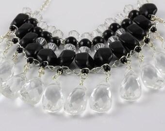 Black Onyx Statement Necklace, Black Onyx and Swarovski Crystal Necklace, Black Bead and Crystal Necklace, Statement Necklace