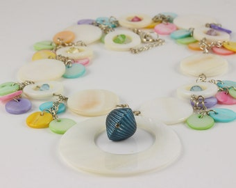 Mother of Pearl Necklace, Beach Necklace, Summer Necklace, Swarovski Crystals, Pastel Necklace, Shell Necklace, Pendant Necklace