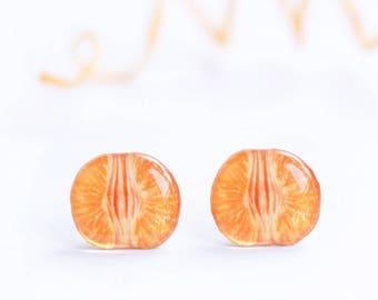 Tangerine earrings Fruit earrings Fruit lover Tangerine lover gift Fruit jewelry Miniature food jewelry Food earrings Citrus earrings