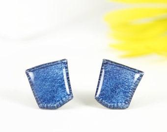 Jeans pocket stud earrings Jeans earrings Jeans lover gift Funny earrings Jeans jewelry Jeans accessories Funny jewelry Hippie earrings